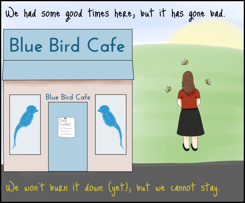 'We had some good times here, but it has gone bad. We won't burn it down (yet), but we cannot stay.' The Mother of Firebees and some firebees walk away from the Blue Bird Cafe, where a letter with the words 'Dear Twitter' has been nailed to the front door.